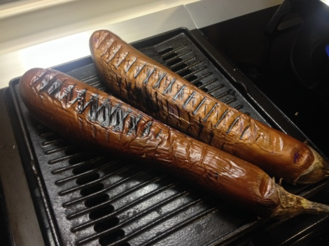 grill the eggplant on all sides until soft