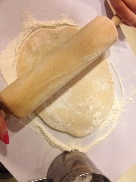 don't be afraid of the flour. you need excessive amount to prevent the dough from sticking together