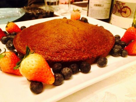 black sesame cake with fresh berries