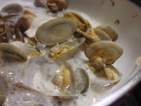 the clams are cooked when they open