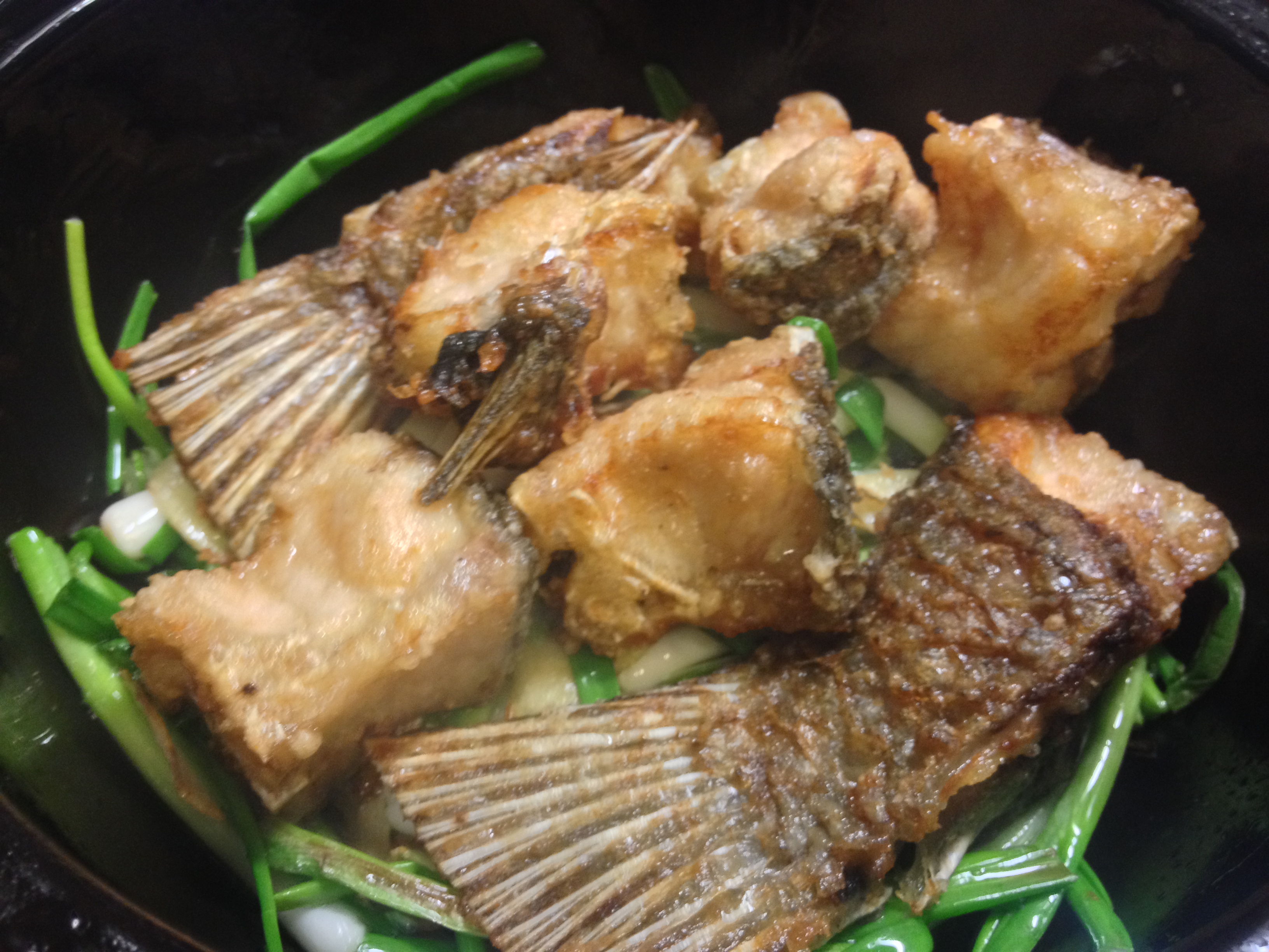 Layer The Fish Then The Green Onions And Sauce