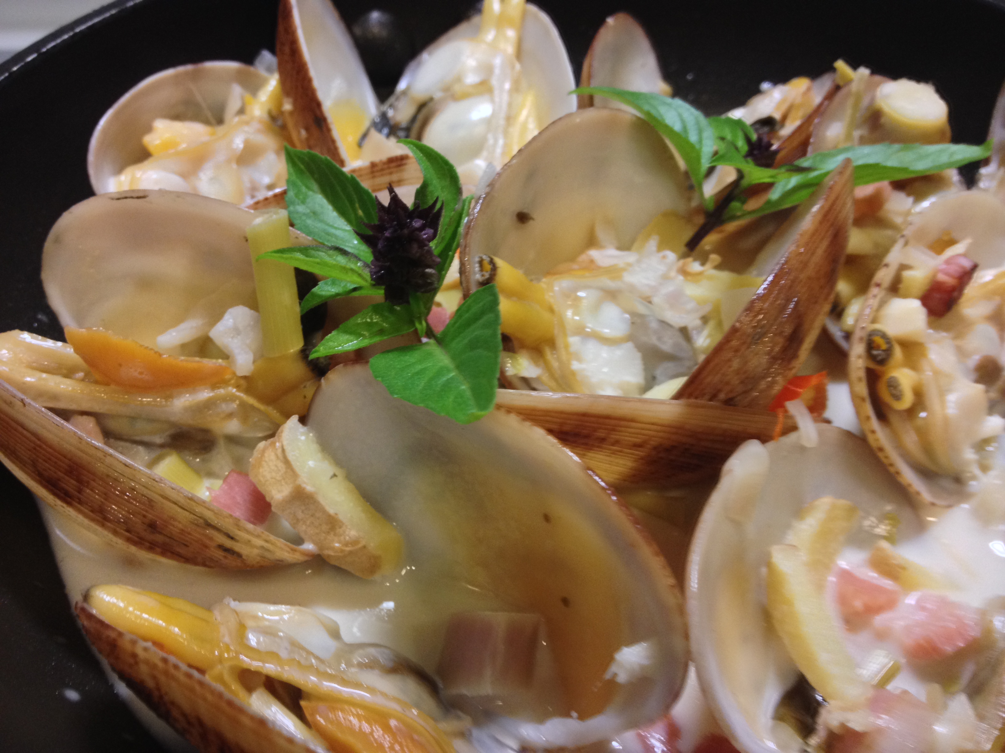 Clams With Basil Broth Recipe — Dishmaps