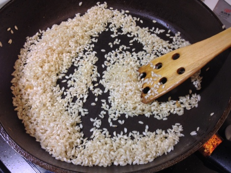start with lightly toasting the rice and onion