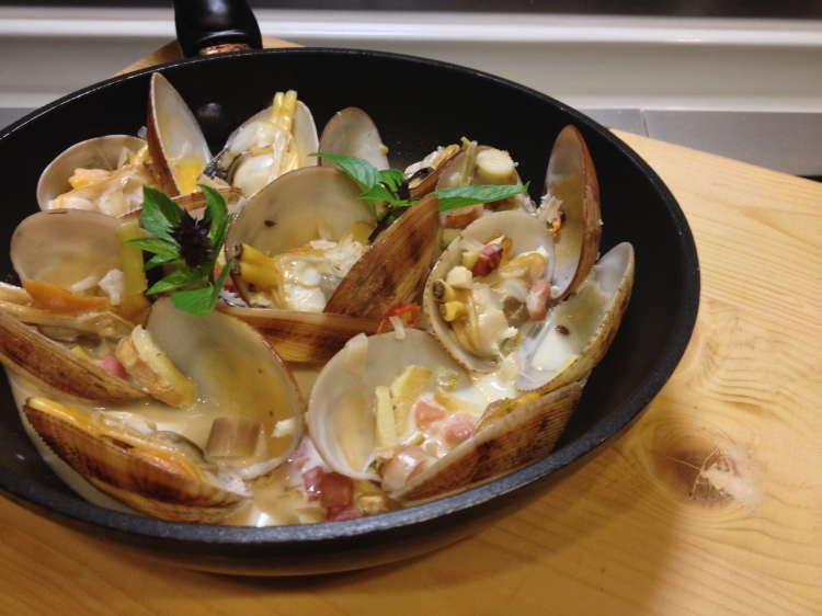clams with thai coconut broth