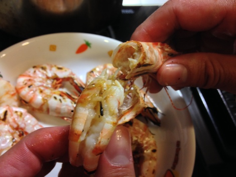 grill the shrimp and peel the skin and head for the stock