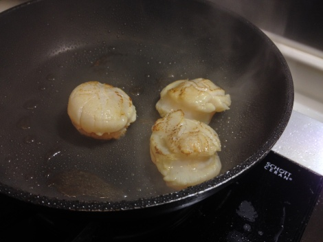pan sear some scallops as your risotto is about to finish; multitask!