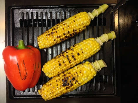 char the corn and red bell pepper