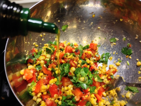cut the kernels off the corn cob and dice the veggies