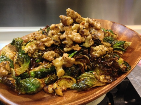 toss the sprouts with the honeyed walnuts