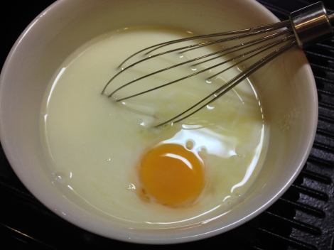 mix together the eggs, milk, and sugar
