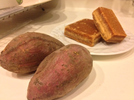 2 medium sweet potatoes, and some good quality cane sugar, we got from the local wet market