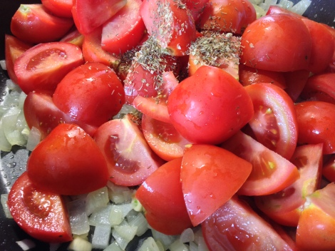 sauteed the onion and garlic, toss in the tomatoes and all the seasonings
