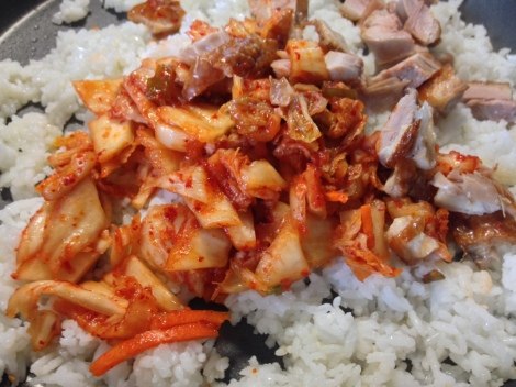 add the kimchi and meat, chop the kimchi if the pieces are too big
