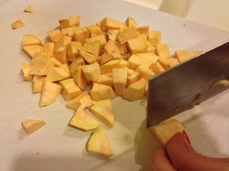 chop the sweet potatoes into small pieces