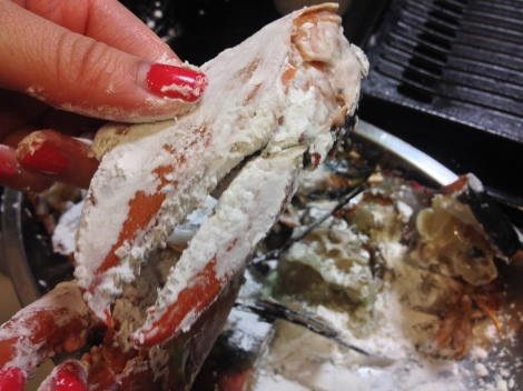 pat the lobster pieces lightly with cornflour