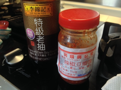 that's the dark soy sauce and chili sauce we used