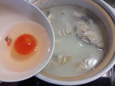 notice the milky color of the water, that's what you want! add the salted duck egg and winter melon