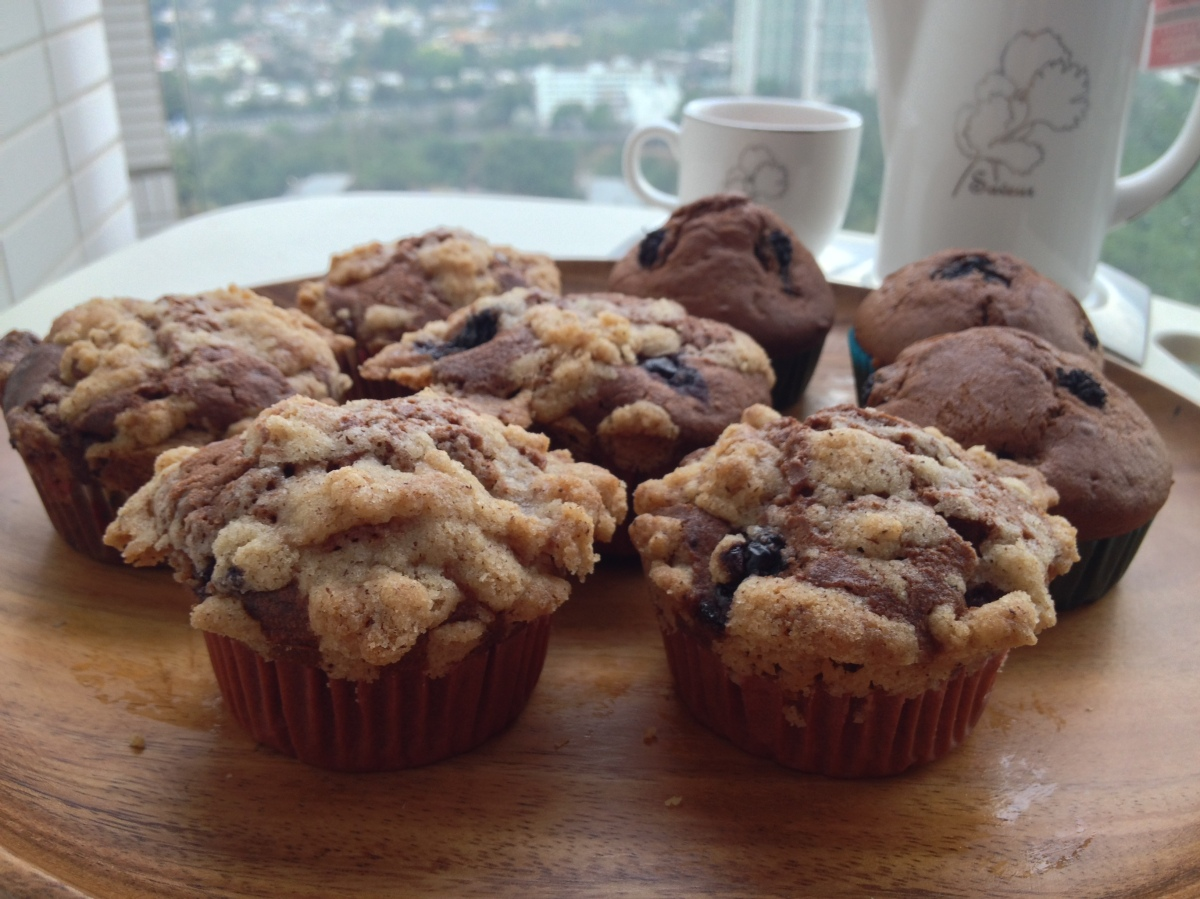 cinnamon crumble blueberry chocolate muffin | Homemade in Hong Kong