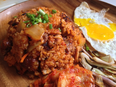 serve with a fried egg and extra kimchi on the side