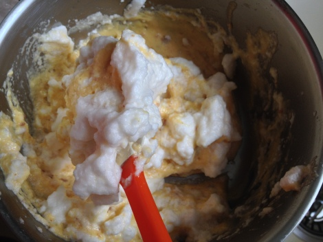 fold the meringue into the custard batter