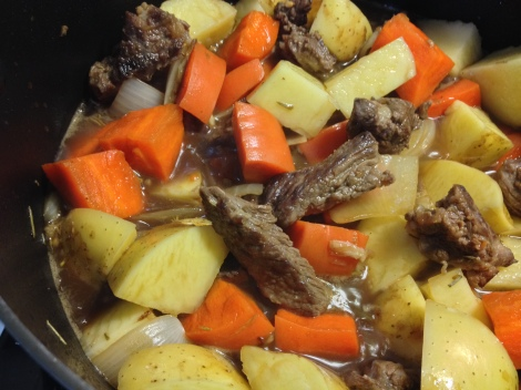 brown the beef and toss in the veggies, beer, and stock