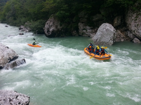 rafting down the blue soca river