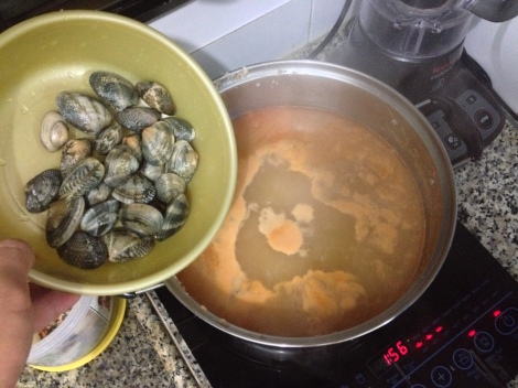 cook the clams when the soup is almost ready to serve